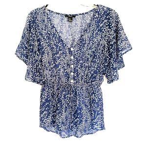 Blue and White Polka Dot blouse